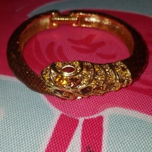 Kenneth Jay Lane Crystal & Brown Snake Bracelet
